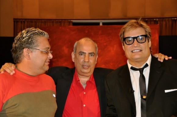 El editor del programa, Manolito Iglesias, Taladrid y Amaury. Foto: Petí
